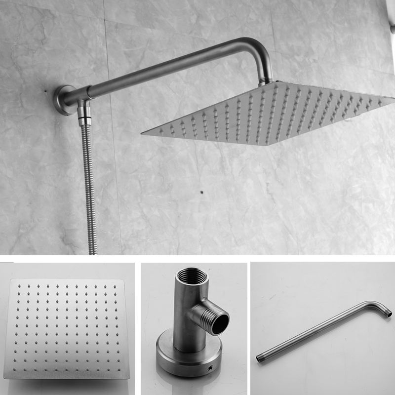 10 inch square and round shower head has holder and hose 304 stainless steel
