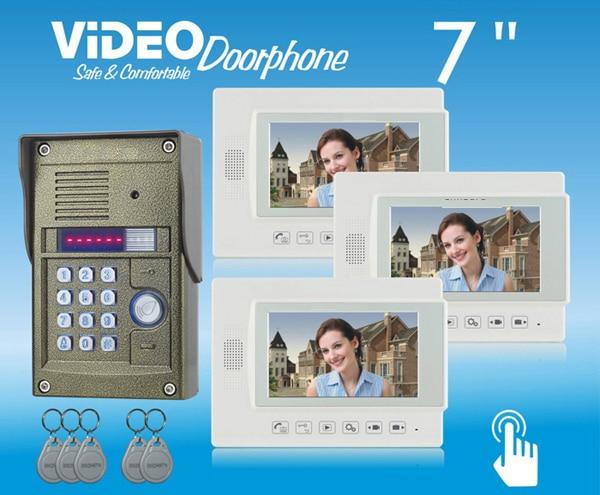 ZHUDELE Home security 7video door phone,waterproof 700TVL IR camera ,ID card and Password unlock,Recording function 1 V 3