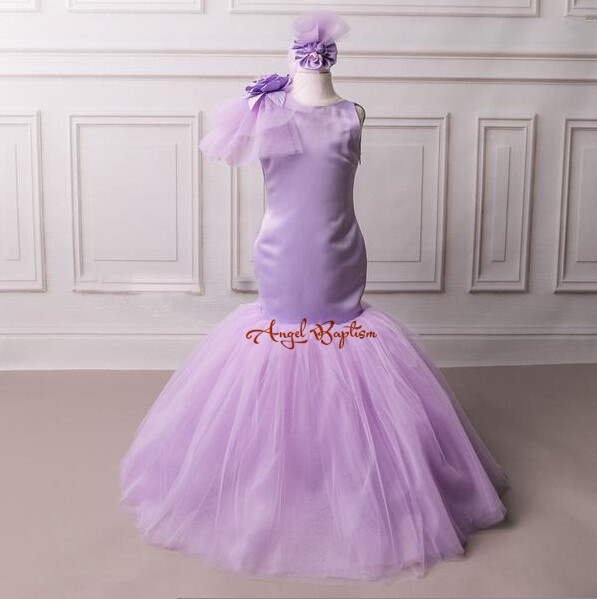Elegant Purple Mermaid flower girl dresses soft tulle backless girl dress 2017 summer children clothes deep purple deep purple stormbringer 35th anniversary edition cd dvd