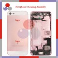 50Pcs/lot high quality For IPhone 5 5G Full Housing Assembly Back Cover Battery with Sim Card Tray + Buttons+ Flex Cables