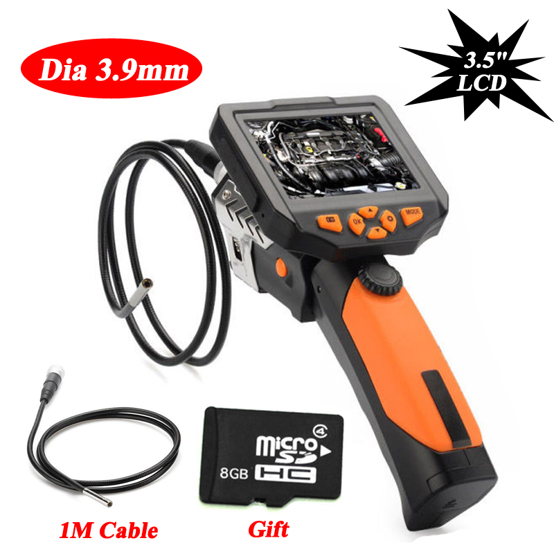 Blueskysea 3.5'' Video Inspection Camera 3.9mm Borescope Endoscope Zoom Rotate 1M+8GB Card
