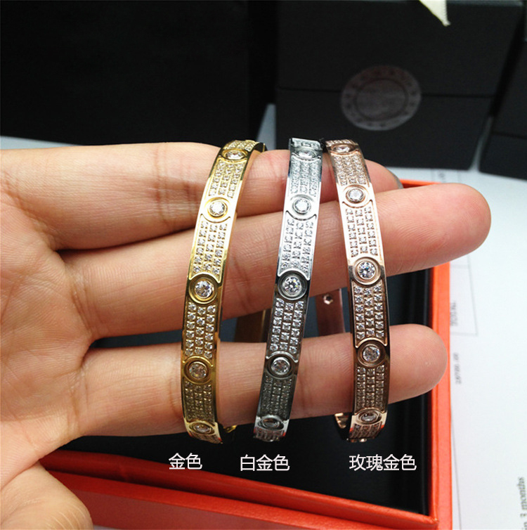 New Arrival Classic Mirco-Paving Prong Setting Full Rhinestone Women Wedding Brangle Trendy Lover Bangle Gift
