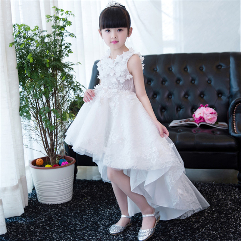 Children Girls White Color Elegant Appliques Flowers Birthday Wedding Party Princess Lace Dress Kids Teens Piano Costume DressChildren Girls White Color Elegant Appliques Flowers Birthday Wedding Party Princess Lace Dress Kids Teens Piano Costume Dress