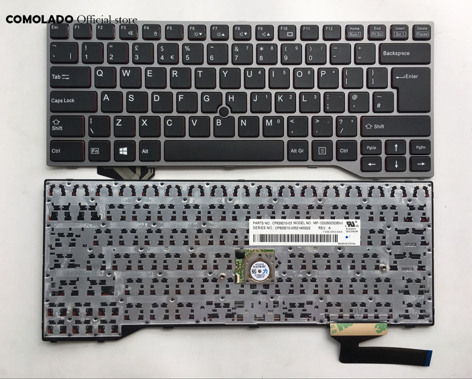 UK Keyboard For Fujistu Lifebook E733 E744 E743 Sliver Frame Laptop Keyboard UK Layout