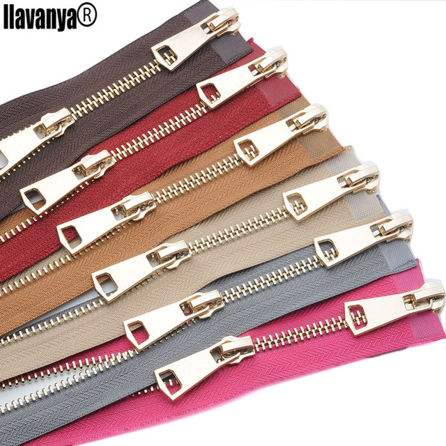 2PCS a lot Top Fashion 5#-120cm Metal Copper Zipper Bright Light Gold Teeth High-grade Leather Iron Zip Open-end Double Two-way