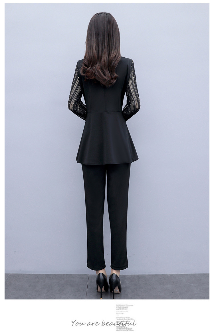 Plus Size Autumn Black Two Piece Sets Outfits Women Long Fake Two Pieces Tops And Pants Suit Elegant Korean Ol Style 2 Piece Set 39