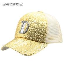 D Letter Rhinestone Sequins Baseball Caps 2019 New Summer Female Shine Snapback Hats Fashion Hip hop Hat Men Women's Cap стоимость