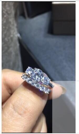 TR011SR 3 камнем комплекты 1.5CT nscd Имитация gem 925 стерлингов серебряные кольца