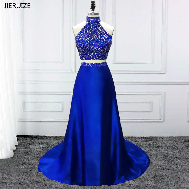 50570b7b220 Mouse over to zoom in. JIERUIZE Royal Blue 2 Piece Prom Dresses High Neck  A-line Crystals ...