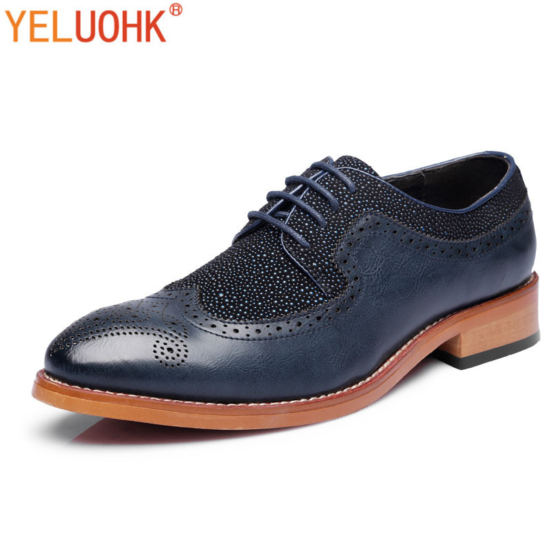 2018 Herbst Schuhe Männer Leder Spitz Oxfords Schuhe Für Männer Hohe Qualität Lace Up Männer Leder Schuhe Marke Neue Blau Schwarz SchöN In Farbe