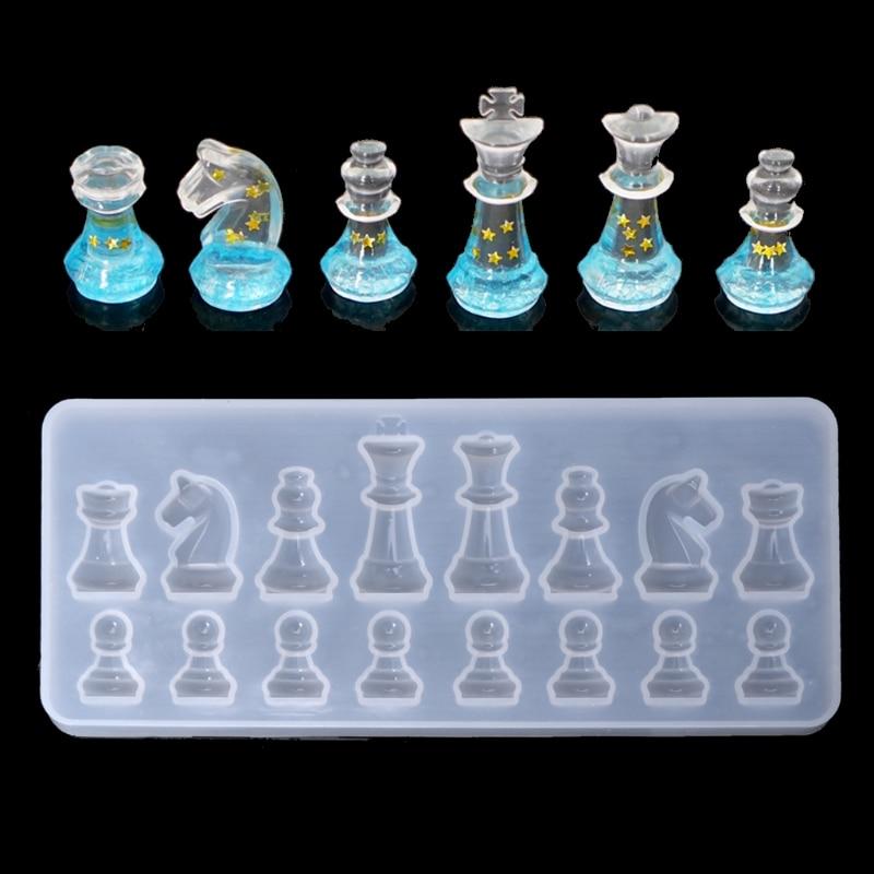 Forma de xadrez internacional molde silicone diy argila uv resina cola epoxy molde pingente moldes para jóias