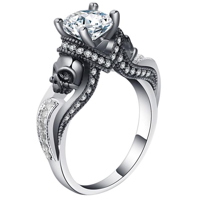 Hainon Women s Skull Ring European and American Punk style Motor Biker Men  Party Ring Birthday stone 20ab18cd4a