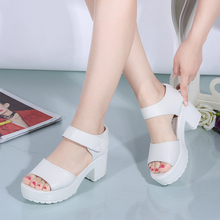 Summer 2016 New Waterproof Students Fashion White Thick Fish Mouth High-heeled Sandals Thick Bottom Women Casual Shoes