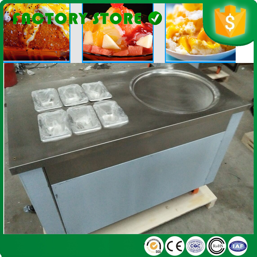 45cm single pan fried frying ice cream machine with fresh cabinet six fruit tanks foot defrost four shovels for free|cream machine|ice cream machine|fry ice cream machine - title=