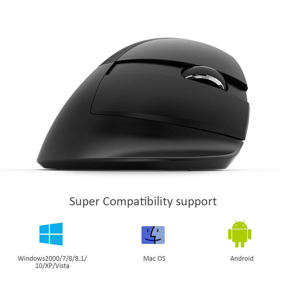 Delux M618Mini GX 2.4G Hz Nirkabel Vertikal Mouse 6 Tombol 1600 DPI Desain Ergonomis Komputer Mini USB Mouse untuk Windows laptop PC