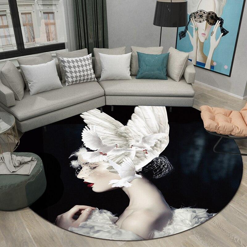 Creative nordique rond réseau ins tapis maison chambre chevet entrée ascenseur tapis de sol canapé table basse tapis antidérapant
