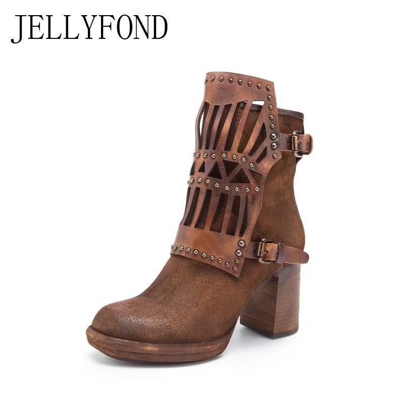2017 Punk Style Rivets Studded Women Ankle Boots Handmade Genuine Leather High Heels Western Cowboy Boots Designer Shoes Woman