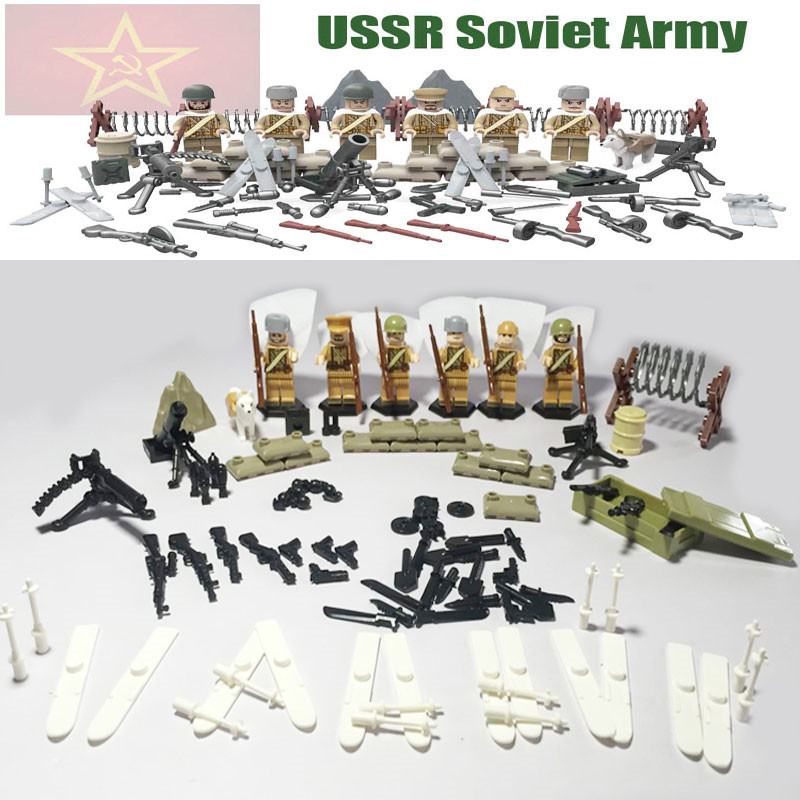 Oenux WW2 Soviet Russian National Army  Building Block The Battle Moscow Custom Guard Husky Military Figure Compatible With D164 building soviet citizens with american tools
