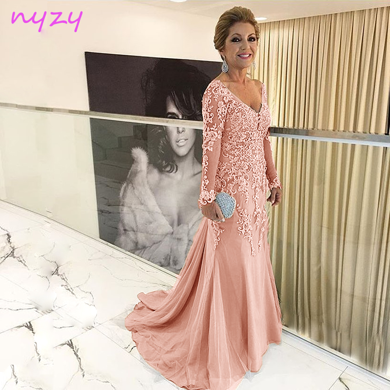 NYZY Dress Tulle Long-Sleeves Wedding Formal Longo Lace V-Neck Pearl Pink M55J Vestido-De-Festa