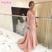 NYZY M55J Wedding Long Mother Dress 2019 Pearl Pink Tulle V Neck Long Sleeves Lace Formal Evening Dress Vestido de Festa Longo