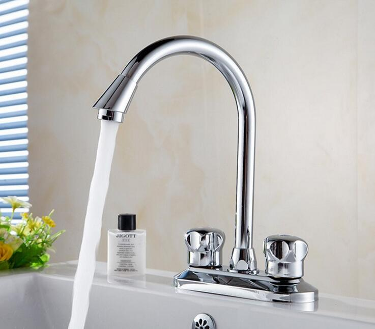 Copper kitchen dish basin faucet chrome, Bathroom water sink basin faucet mixer tap,Rotated brass wash basin faucet hot and cold copper three hole sink basin faucet golden brass handle bathroom bathtub faucet deck wash basin faucet mixer hot and cold
