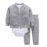 2019 New 3pcs Cardigan Set Long Sleeve Coat Vest Bodysuit pants Baby Boy Clothing Set Infant Kids Clothes of Winter and Spring