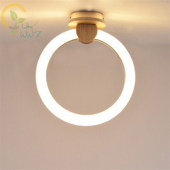 Modern Minimalist Wood Led Ceiling Lamps Nordic Creative Ring Led Wall Lights for Aisle living room Home Light Lighting Fixtures