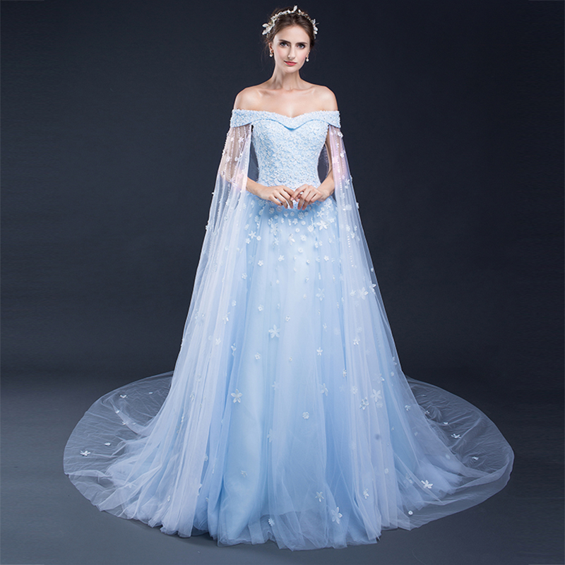 Luxury Ball Gown Long Evening Dress with Cape 2018 Off the Shoulder ...
