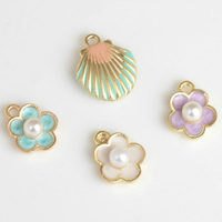 Newest 3D Colorful Sea Shell Bracelet Charms Gold Color Plated White Core Enamel Oil Drop Spring