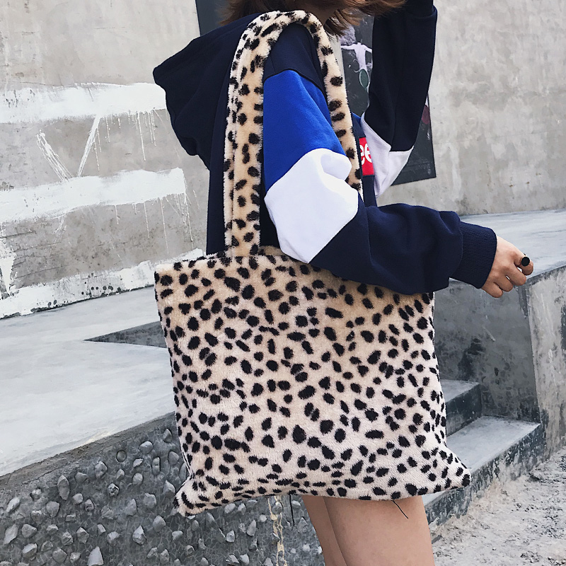 11.11 Fashion leopard Bag Women Tote High Quality Velvet Women Shoulder Faux Fur Bag ladies Handbag Female crossbody bags W413
