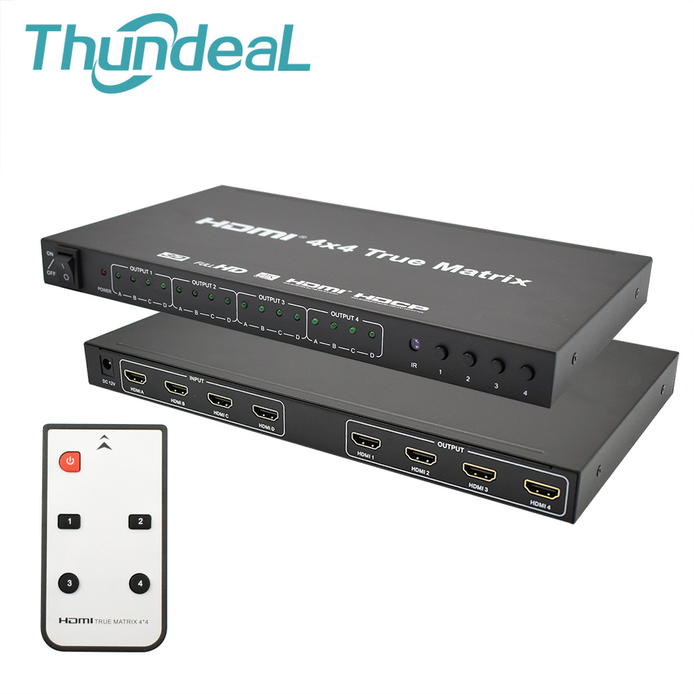 ThundeaL HDMI Matrix 2 4x4 HD 4 k k HDMI Switch Splitter Saída Entrada 4 4 3D 1080 p 60 hz True Matrix Converter Adapter + Remoto