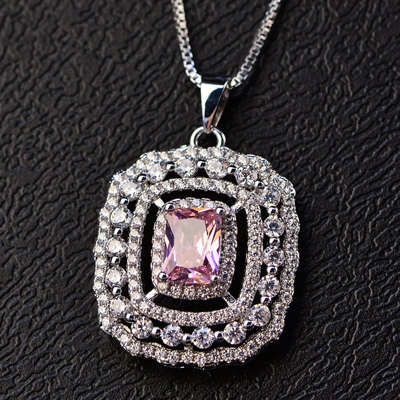 S925 Sterling Silver Jewelry Necklaces Pendants For Women Temperament Elegant Topaz Colorful Diamant Necklace Fine Jewelry Colar