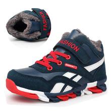 Chłopcy buty zimowe dzieci Snow Buty Sport dzieci buty dla chłopców sneakers Fashion 2018 nowe buty dziecięce skórzane rozmiar 28-39 tanie tanio 7-9Y 13-14Y 14Y 4-6Y 10-12Y Gumowe Tkanina bawełniana HAKEEM Zima Płaskie z Zaczep pętli Kwadrat toe Pasuje do rozmiaru Weź swój normalny rozmiar