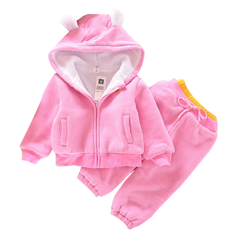 autumn Winter Girls Boys Clothing Sets Bear Jackets+Trousers Sports Suits for girls Thick Warm Tracksuit Kids Clothing Sets