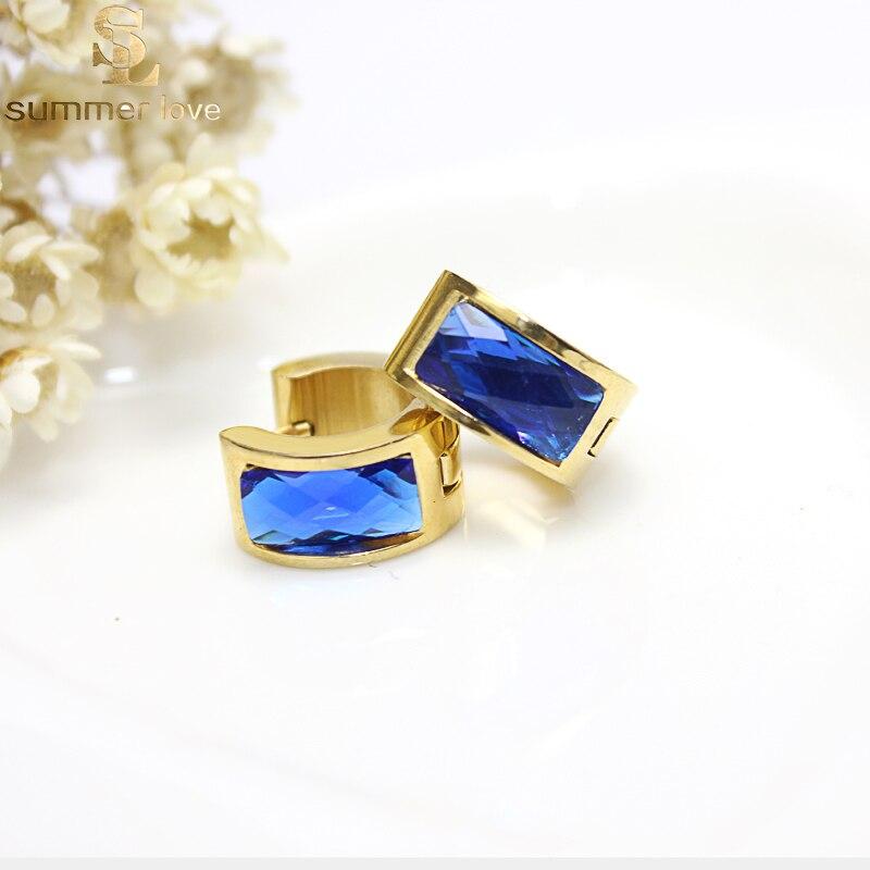 Trendy Style Women Beautiful Resin Blue Hoop Earrings Gold Color Stainless Steel Ear Jewelry Gift gor Girls