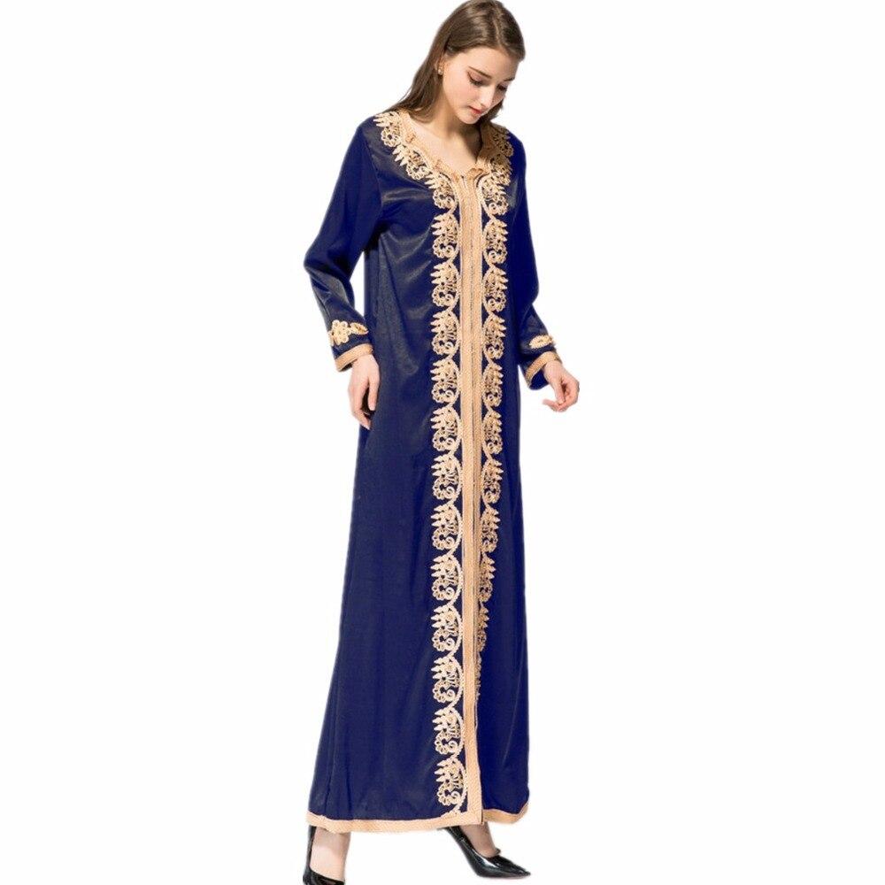Adulte décontracté perles soie tissu Robes Musulmane dubaï mode robe Musulmane Robes chaudes arabe culte Service musulman abaya Wj2281 - 4