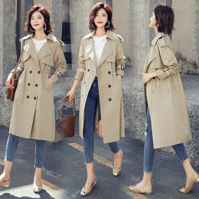 Veste coupe-vent pour femme double boutonnage grande taille vêtements pour femmes 2019 nouvelle veste d'automne dans la longue section manteau décontracté