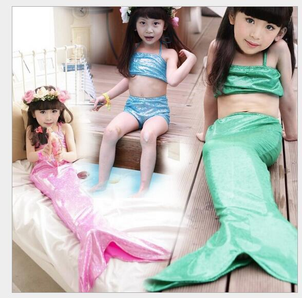 Girl Mermaid Tail Swimmable Monofin Capable Sea-maid Princess Bikini Swimwear Beach Children Dress fairy tail N104