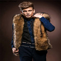 snowshine #3001   Men Faux Fur Vest Jacket Sleeveless Winter Body Warm Coat Hooded Waistcoat Gilet free shipping
