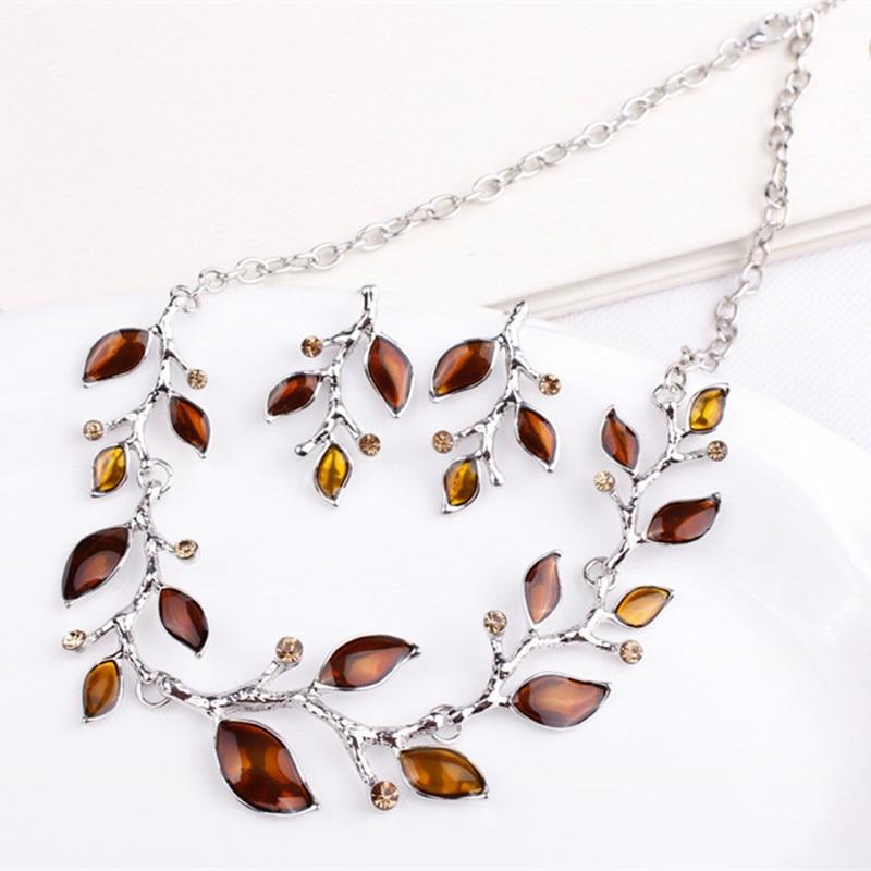 Új divat-choker levél nyaklánc és fülbevaló ág kristály ékszer szettek Ezüst 2 db levél zománc ékszer szett nők számára