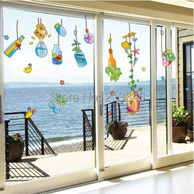 Fundecor Diy Wall Stickers Home Decor Mason Jar Glass Drift Bottles Window Decorative Decals
