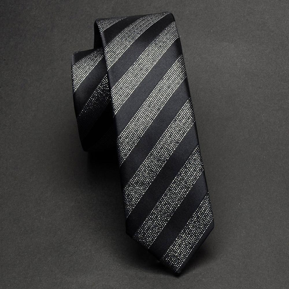 RBOCOTT Slim Tie Black Silver Gray For Man Classic Striped Paisley Necktie 5cm Mens Skinny Tie Casual Waterproof Neck Ties