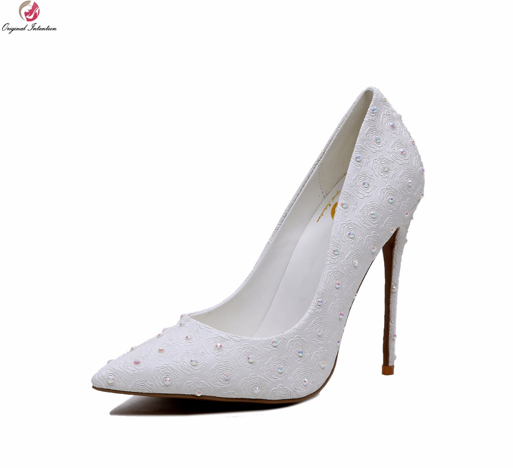 Original Intention Elegant Women Pumps Stylish Pointed Toe Thin High Heels Wedding Pumps White Shoes Woman Plus US Size 4-10.5 bowknot pointed toe women pumps flock leather woman thin high heels wedding shoes 2017 new fashion shoes plus size 41 42
