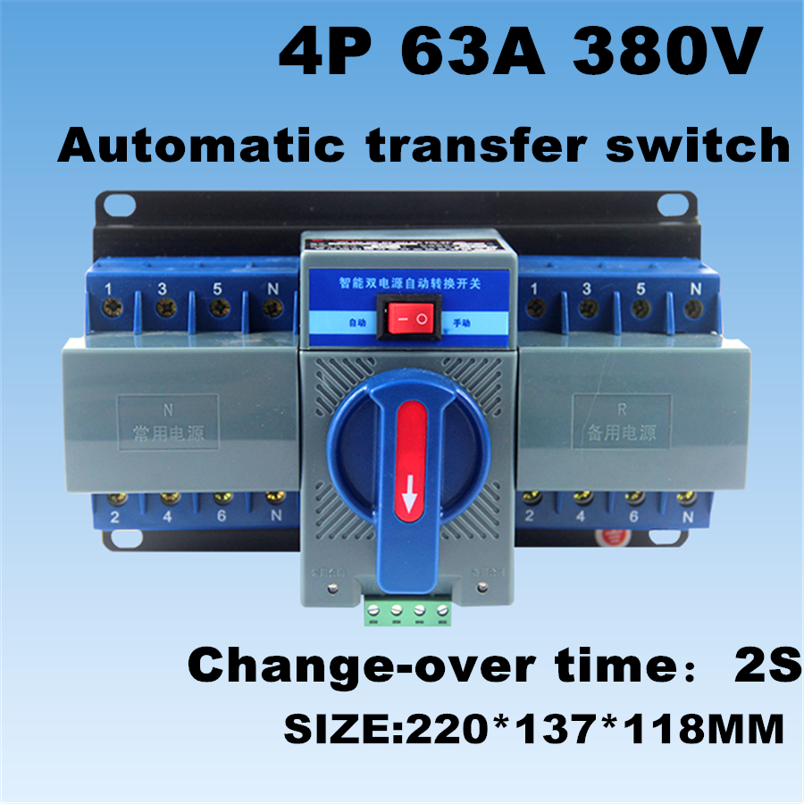 4p 63a 380v Ats Dual Power Automatic Transfer Switch For Generator View Mcb Type