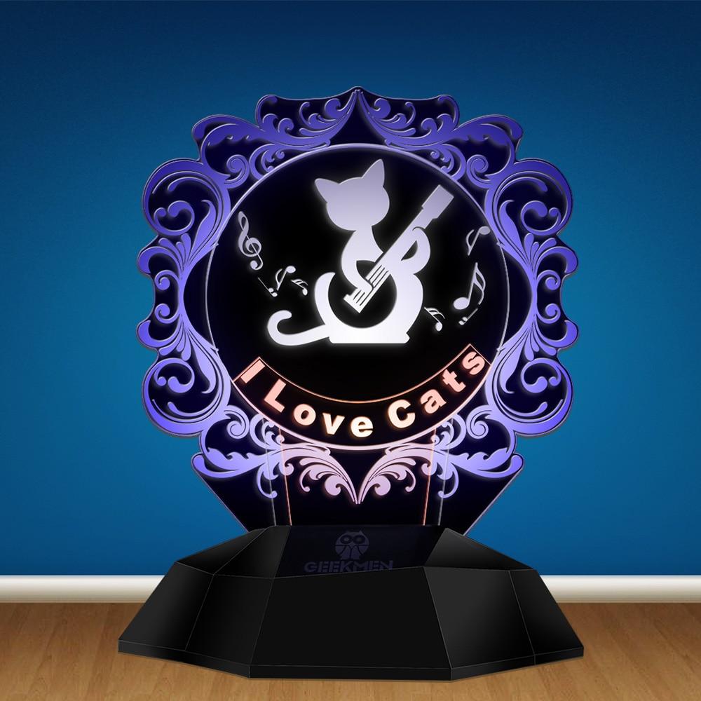 I Love Cats 3D Line Lamp Home Decor Table Lamp Musical Cat Guitarist 3D Optical Illusion Lamp Pet Cat Kitty Novelty Night Light