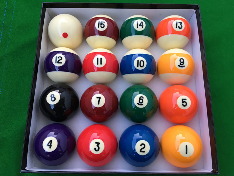 16pcs/set Resin Complete Sets Pool Balls Normal Black 8 Balls 57.25MM  Standard 2