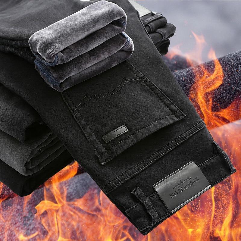 ICPANS Fleece Warm Winter Jeans Men Stretch Elasitc Straight Classic Black Denim Jeans Men Regular Fit 2018 Plus Size