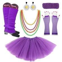 Women Disco Accessorie 80s  Retro Disco Neon Costume Purple Petticoat Beads Necklace Multicolor Prop  1980s Rock N Roll Star disco collection 80s