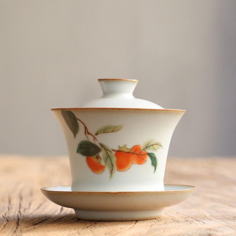 PINNY 160ML Your Kiln Retro Ceramic Gaiwan Handpainted Persimmon Porcelain Tea Tureen Chinese Kung Fu Tea Service Pigmented