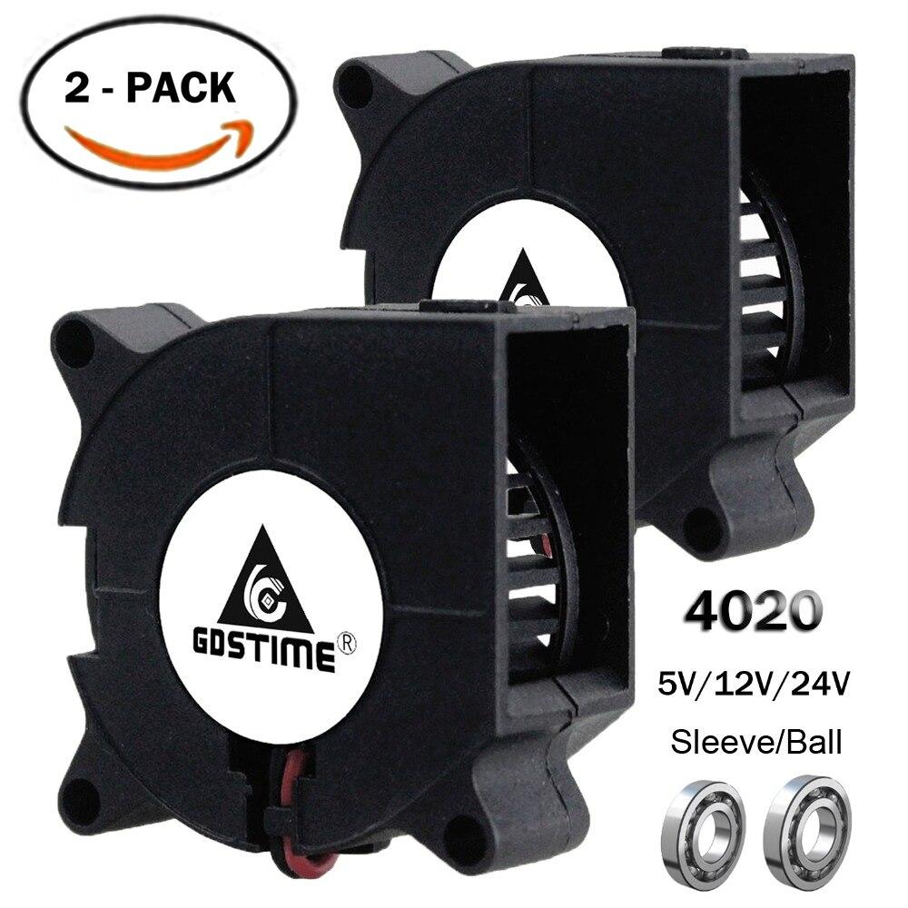 2 Pcs Gdstime 3d Imprimante Ventilateur 40mm 4020 Turbo Souffleur 24 V 12 V 5 V Roulement à Billes Ventilateur De Refroidissement 40mm X 40mm X 20mm Pour Pièces D'imprimante 3d